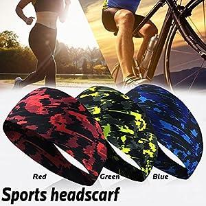 Easy-topbuy Elastische Stirnband Schweißband Kopf Stirnband Sport Tennis Frottee Schweißband Für Männer Frauen Yoga Haarbänder Laufender Kopf Anti Schweißbänder Sport Sicherheit