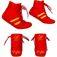 Viper Boxing Boots Mens Boys Girls Boxing Footwear Boxing Shoes (RED)