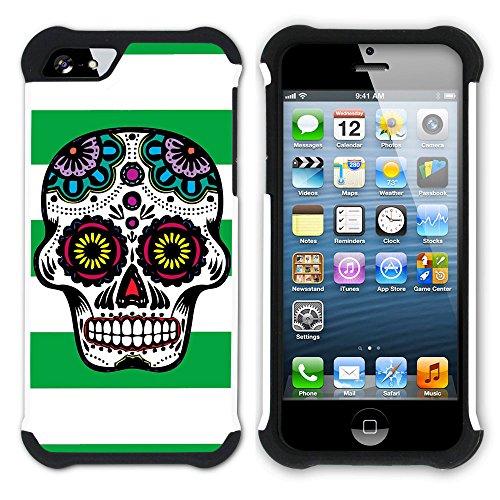 Graphic4You Mexikanische Zuckerschädel Tod Linien Muster (Wasserblau) Hart + Weiche Kratzfeste Hülle Case Schale Tasche Schutzhülle für Apple iPhone SE / 5 / 5S Grün