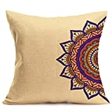 wuayi Bohemian-Muster, einfache Farbe, dekorative quadratische Kissenbezüge für Zuhause, Sofa, Dekoration, Flax, L, 43 x 43 cm