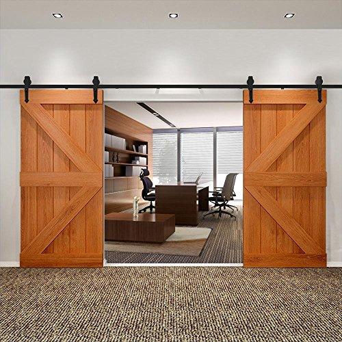 Yaheetech Schiebetürsystem Laufschiene Schiebetüren Komplettset Schiebetürbeschlag 2 Türen mit Abstandshalter Montage-Set 396 cm (13ft) -
