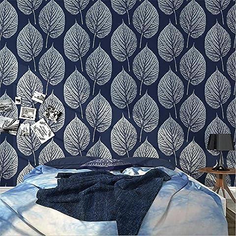 H&M Tapete PVC modern einfach 3D Stereo schwarz und weiß Blätter Tapete Dekoration Schlafzimmer TV Wand Wohnzimmer Tapete -53 cm (W) * 10 m (L) , blue