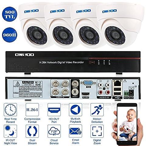 OWSOO CCTV Überwachung DVR Security System 4CH Kanal 960H/D1 800TVL HDMI P2P Cloud Network Digital Video Recorder + 4 * Indoor Infrarot-Dome-Kamera + 4 * 60ft Kabel