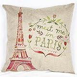 """Luxbon Funda de Cojín Almohada Lino Duradero París Francia La Torre Eiffel Decoración para Sofá Cama Coche 18x18"""" 45x45 cm"""