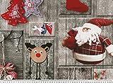 ab 1m: Dekostoff mit Weihnachtsmotiven, Digitaldruck, grau-rot, breit