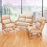 Alfresia Bali Cane and Square Lattice Conservatory Furniture Set with 2 Seater Sofa and 2 Chairs Including Luxury Cushions (Jakarta Cream)