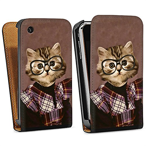 Apple iPhone 4 Housse Étui Silicone Coque Protection Chat Chat Animaux Sac Downflip noir
