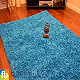 """FunkyBuys Shaggy Rug Plain 5cm Thick Soft Pile Modern 100% Berclon Twist Fibre Non-Shed Polyproylene Heat Set - AVAILABLE IN 6 SIZES On Amazon (Teal Blue/Turquoise, 66cm x 110cm (2ft 3"""" x 3ft 7""""))"""