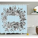 yeuss mint Vorhang für die Dusche von, modernes stilisierten Vintage Bridal Bouquet Botany Shabby Chic Floral Graphic, Stoff Badezimmer Decor Set mit Haken, hellblau schwarz weiß 152,4x 182,9cm, 60