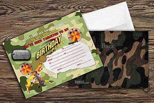 Pistolet Nerf/Guerre Nerf/Invitations pour fête d'anniversaire Militaire pour garçons Lot de 10+ enveloppes