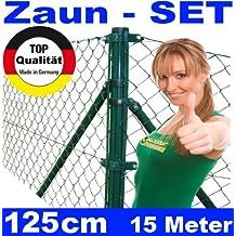 Festnight Maschendrahtzaun Zaun-SET Maschendraht Drahtzaun Maschenzaun Zaunanlage 1,5x25m Gr/ün