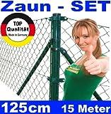 Maschendrahtzaun - SET 125cm 15 Meter lang Maschendraht