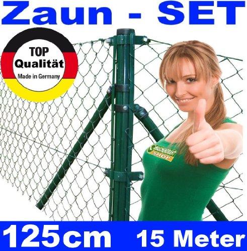 *Maschendrahtzaun – SET 125cm 15 Meter lang Maschendraht*