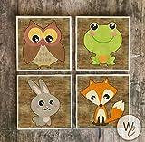 Woodland Animals posavasos de bebida, juego de 4, azulejos de cerámica, zorro, búho, conejo,...