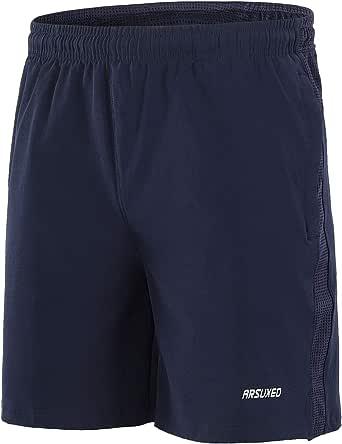 """ARSUXEO Men's 7"""" Training Workout Active Running Shorts Zipper Pockets B203"""