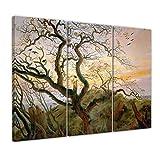 Bilderdepot24 Kunstdruck - Alte Meister - Caspar David Friedrich - der Baum der Krähen - 150x90cm dreiteilig - Leinwandbilder - Bilder als Leinwanddruck - Bild auf Leinwand - Wandbild