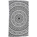 [Patrocinado]Bersuse 100% Algodón - Venice Toalla Turca - De doble capa - Fouta Peshtemal para Baño en la Playa - Pestemal de Diseño Mandala Mano - 100X180 cm, Negro