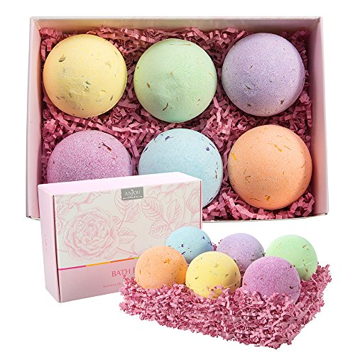 Anjou-Bath-Bombs-Gift-Set-6-x-110g-Vegan-Natural-Essential-Oils-and-Dry-Flowers-Perfect-Gift-Kit-for-Girlfriends-Women-and-Moms