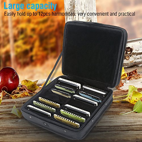 Harmonica Case Harmonica Tasche 12 Nylon Harmonica Tragetasche Aufbewahrungstasche mit Zipper Instrument für 12 Mundharmonika mit 10 Löchern (Mundharmonika-tragetasche)