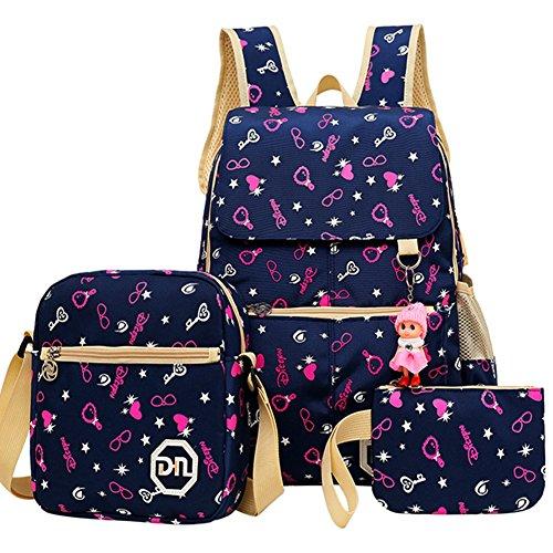 Cieovo Casual Canvas Schulrucksack - 3tlg. Set Schultaschen Schultertasche für Mädchen Kinder Jugendliche Multicolour Herz -