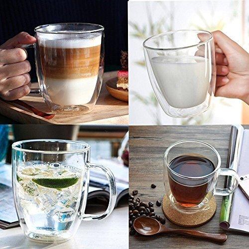 comprare on line Cooko Cristallo Vetro Caffè a Doppia Parete,Vetro Resistenti al Calore,Tazze ad Alta Borosilatura con Manico per tè,Latte,Cappuccino,Succo,350ml set di 1 prezzo