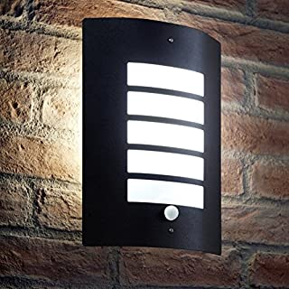 Auraglow Stainless Steel Energy Saving Motion Activated PIR Sensor Outdoor Security Wall Light - Black Matte Finish - Cool White