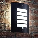 Auraglow Applique murale Noir Acier inoxydable Grill design avec PIR détecteur - 1 x LED Ampoule (Blanc froid) 7W Inclus
