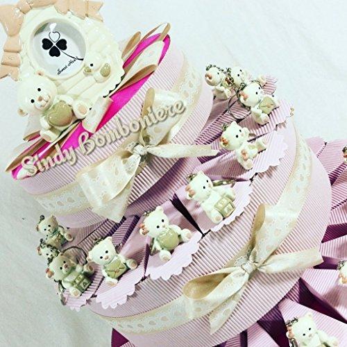 Torta bomboniera orsetti rosa nascita battesimo comunione cresima compleanno (torta da 90 fette + centrale)