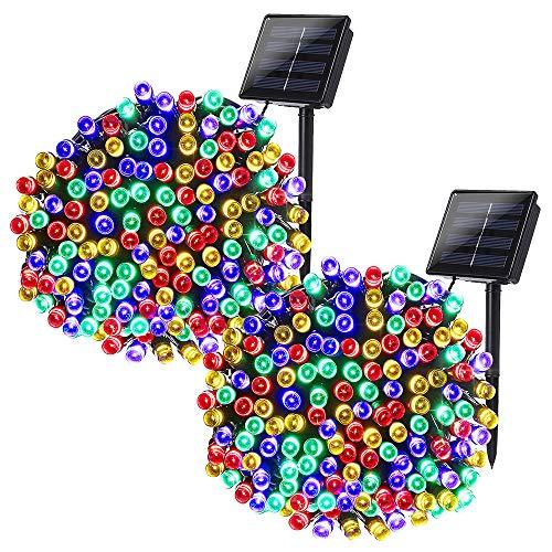 Qedertek 2 Pack Cadena de luces con Energía Solar 22M 200 LED Guirnalda de luces para Exterior Cadena de Luz LED Decoración para Jardín Patio Piso Vacaciones Fiesta Boda Guirnalda Árbol de Navidad (Colores)