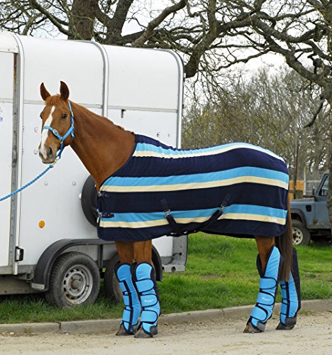 NEW Rhinegold Elite Top Quality TURQUOISE Striped Fleece Travel Show Rug for Horse or Pony Test