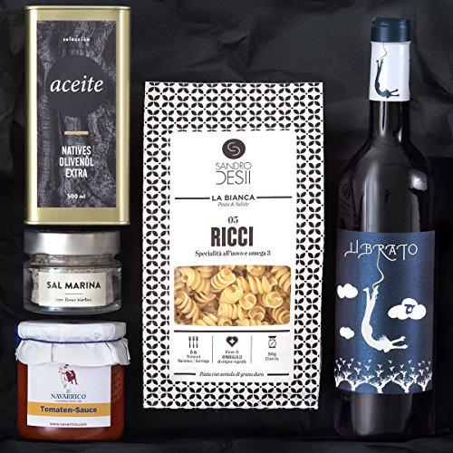 Geschenk-Set PASTA & VINO | Gefüllter Geschenkkorb mit italienischen Nudeln, mediterranen Delikatessen und Rotwein aus Spanien