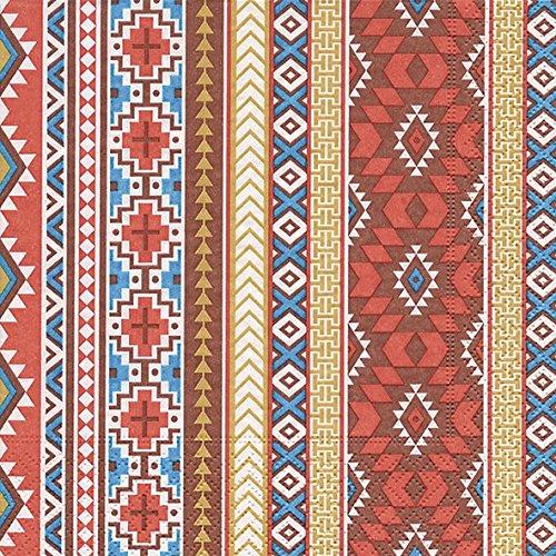 20 Servietten Mexikanisches Muster / Streifen (Indische Party Dekorationen)