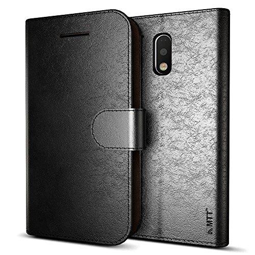 MTT Leather Flip Wallet Case with Card Slot for Moto G Plus / Moto G4 ,Black