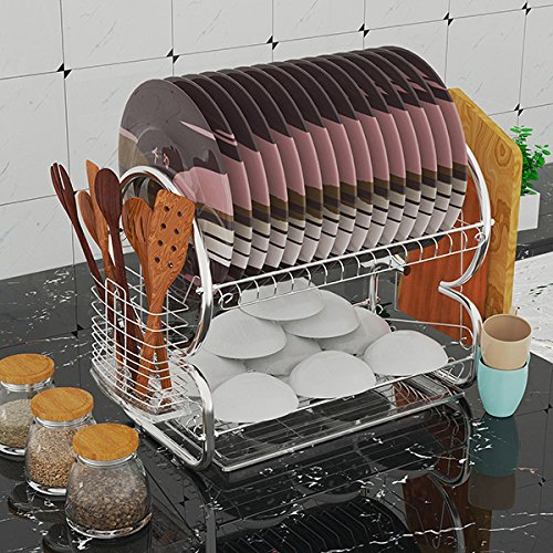 Eine Etage (fiugsed Geschirrtrockner Abtropfgestell 2 Etagen aus Edelstahl Geschirrständer abtropfregal Geschirr Abtropfständer 44x25x38cm für Besteck wie Teller Tassen usw)