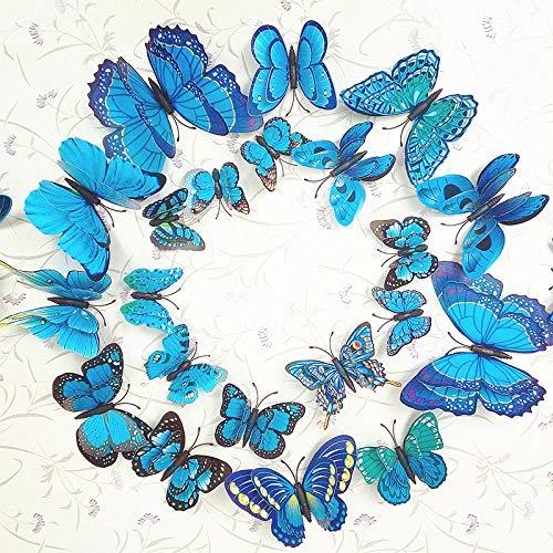 ZZSXC 12 Sätze Von Simulation Butterfly Stereo 3D Wandaufkleber Magnetkühlschrank Aufkleber Pin Vorhänge Dekoration Dekorationen Doppelschicht Schmetterling Farbe Magnet Modelle @ Blue Magnet -