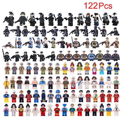 MAJOZ 122 Military Pieces Mini Personalized Figures - SWAT Team Police Figures Building Block for Children and Adults, Compatible with Lego