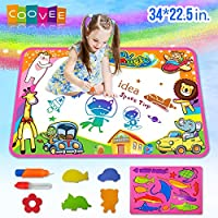 """COOVEE Water Drawing Mat, Magic Aqua Doodle Mats 34"""" X 22"""" Arts Crafts Painting Pad Toys for Toddler Kids Age 2 to 9 Years Old Toddlers"""