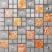 Patrón cobre Mosaico de vidrio de acero inoxidable Azulejos de mosaico color mixto acero inoxidable mosaico 300*300mm Cocina backsplash / ducha de pared de la pared de la pared / Hotel pasillo pared de la frontera / piso residencial de piso y aplicaciones de la pared SA073-43 (11 pieza/㎡)