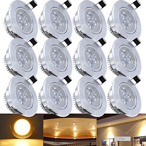 Hengda® 12 x 3W Warmweiß Alu-matt LED Einbauleuchte Deckenbeleuchtung SMD Energiespar Decken Deckenleuchten Einbaustrahler Set 230V Spot Lampen Bohrung 70mm High Power