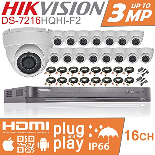 HIKVISION CCTV Sicherheit System 1080P Full HD 4 K DVR 16 CH 16 Channel 2 TB 4 TB NAS 6TB H.265 + Hik 2 MP 3 MP 3,6 mm Weitwinkel 16 x weiß Kameras Indoor Outdoor Nachtsicht 20 m Kit UK Verkäufer ds-7216hqhi-k2 (Dvr Sony Cctv)