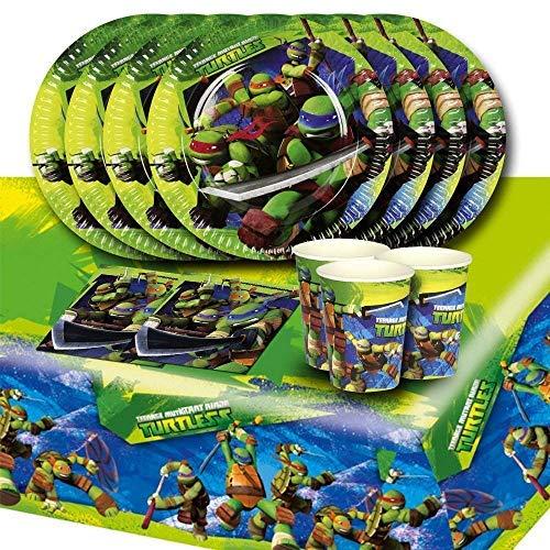 (Teenage Mutant Ninja Turtles Zubehör im Set, für bis zu 16 Kinder, Komplettset mit Partygeschirr für alle TMNT Fans)