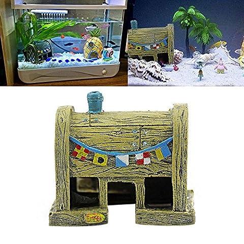 Efanr Aquarium Landscaping Resin Cartoon House Decorations Simulation Polyresin Fish Tank Decor Ornaments Decoration Fish Shrimp Viewfinder Hippie Shelter House Underwater Hiding Cave