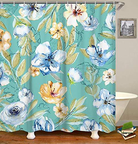 Livilan Floral Stoff Duschvorhang Set 182,9x 182,9cm Deko Wasserdicht Quick Dry Polyester-Dick-Badezimmer Vorhang Typ 2