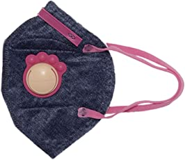 Honeywell PM 2.5 anti-pollution kids mask with special valve - Denim with Pink, Pack of 5