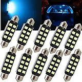 WLJH 10pcs 41mm 42mm Girlande LED Canbus fehlerfreie Birnen 3W 2835 Chipsets Eis-Blau 578 211-2 212-2 LED Kfz-Kennzeichen-Hauben-Birne für Auto-2Yrs Garantie