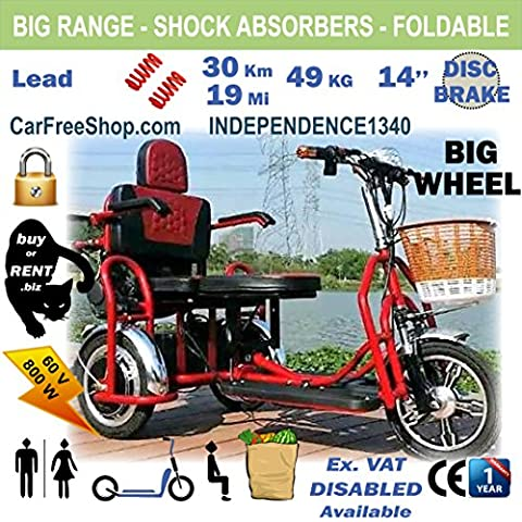 carfreeshop customIZED INDEPENDENCE1340 SENIORS ELECTRIC assisted COLLAPSABLE mobility scooter with BASKET, ARMCHAIR, to get GO OUT, and access FOOTPATH/PAVEMENT, 3 BIG WHEELS 14inch, power 800W, Range 80 km, DRUM BRAKES, mudguards, folding, foldable, SHOPPING, groceries, travel, walker, safe, ergonomic, wheelchair, confort saddle, RETIRED-MEN-WOMEN arthrosis disabled kerb, blue, red, best sale 2017