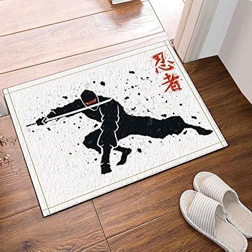 SHUHUI Japanischer animierter Ninja, der Schwarze Kleidung trägt und EIN Schwert in der Praxis hält Wasserfest, haltbar, Rutschfest, Keine Chemikalien -