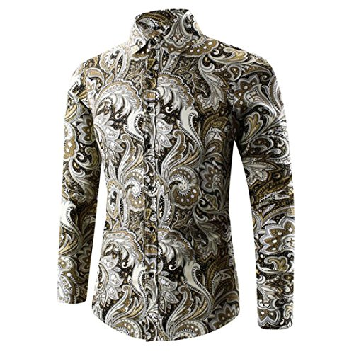 Hemden Herren Btruely 3D Drucken Trachtenhemd T-Shirt Mode Langarmshirt Formell Business Hemden Freizeit Stehkragen Shirt Casual Shirt (Asien Größe M, Gold) (Baumwolle Kurzarm-jeanshemd)