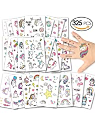 Alintor Einhorn Kinder Tattoos, Glitzer Tattoo Set Kinder Temporäre Tattoos Aufkleber Geschenke für Mädchen Kindergeburtstag Party Wasserdicht Sticker Über 300 Tattoos