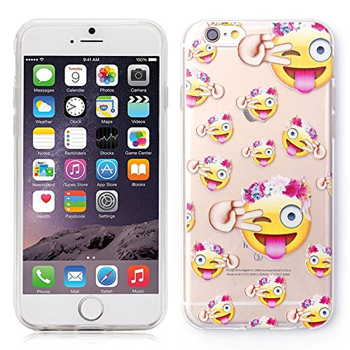 "iProtect TPU Schutzhülle Apple iPhone 6 6s (4,7"") Soft Case - flexible Hülle in transparent Avocado Design Hippie Emojis"